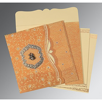 Yellow Wooly Floral Themed - Embossed Wedding Card : AC-8209B - IndianWeddingCards