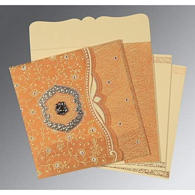Yellow Wooly Floral Themed - Embossed Wedding Card : AIN-8209B - IndianWeddingCards