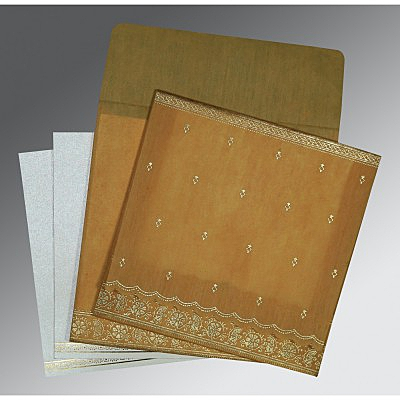 Yellow Wooly Foil Stamped Wedding Card : AIN-8242D - IndianWeddingCards