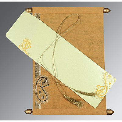 Yellow Wooly Foil Stamped Wedding Card : ASC-5015M - IndianWeddingCards
