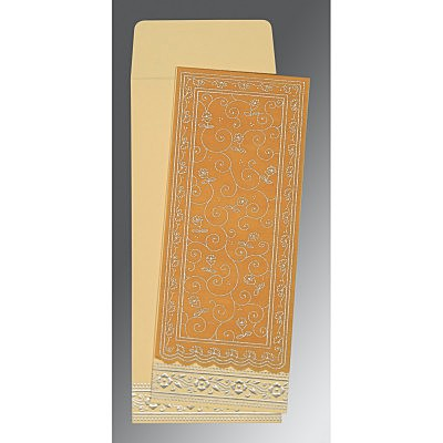 Yellow Wooly Screen Printed Wedding Invitation : AD-8220O - IndianWeddingCards